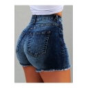 Womens Summer Hot Popular High Rise Fringed Hem Hot Pants Skinny Denim Shorts