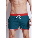Mens New Fashion Contrast Trim Drawstring Waist Beach Swim Shorts with Lining