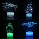Boy Girl Gift 3D Illusion Light USP Charging 7 Color Changing Movie Element Pattern LED Night Light with Touch Sensor