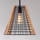 Vintage Style Light Fixture with Cone Cage Shade 1 Light Metal and Wood Hanging Light for Kitchen Hallway