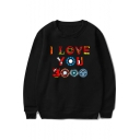 Unique Awesome Colorful Letter I Love You 3000 Basic Round Neck Pullover Sweatshirt
