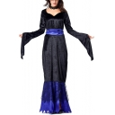 Womens Halloween Cool Black Witch Cosplay Costume Extra Long Sleeve Maxi Party Dress
