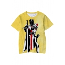 Knights Templar Cool Figure Printed Yellow Short Sleeve Round Neck T-Shirt