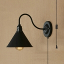 Metal Cone Shade Wall Sconce 1 Light Antique Style Plug In Wall Lighting in Black for Restaurant Shop
