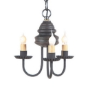 Rustic Style Candle Chandelier Wood 3 Lights Black/White/Rust Pendant Light for Dining Room Restaurant