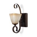 Up Lighting Sconce Light Metal Frosted Glass 1 Light Traditional Wall Lamp for Dining Room Hallway