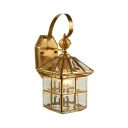 House Shape Sconce Light One Light Vintage Style Glass Metal Wall Lamp for Balcony Front Door