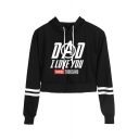 Stylish Letter DAD I LOVE YOU THREE THOUSAND Print Striped Long Sleeve Pullover Cropped Hoodie
