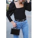Womens Vintage Square Neck Puff Sleeve Long Sleeve Black Fitted T-Shirt