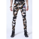 Mens Fashion Camouflage Printed Drawstring Waist Cotton Slim Sport Trousers Pants