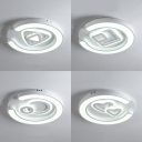 Metal Acrylic Ceiling Light Fixture White Round LED Flush Mount Light with Cute Pattern for Adult Child Bedroom