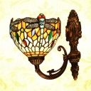 Dragonfly Wall Sconce Bedroom Kitchen Stained Glass Tiffany Style Antique Wall Light