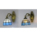 Dome Shade Sconce Light Stained Glass 1 Light Mediterranean Style Tiffany Wall Lamp for Kitchen
