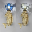 Mediterranean Style Sconce Light with Mermaid 1 Light Glass and Resin Wall Light for Bedroom Kitchen