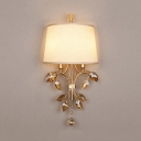 Bedroom Living Room Sconce Light Fabric Metal 2 Lights Rustic Wall Lamp with Crystal Decoration