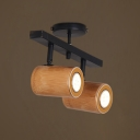 Rustic Style Cylinder Track Lighting Bamboo and Metal 2/3/4 Lights Wireless Spot Light for Shop Gallery