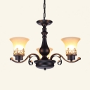 Frosted Glass Metal Chandelier 3/6/8/12 Lights Bell Shade Vintage Style Hanging Light for Hotel