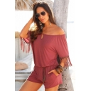 Women's Summer Trendy Solid Color Off the Shoulder Tassel Sleeve Beach Casual Romper Playsuit