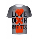 LOVE DEATH + ROBOTS Letter Heart Printed Unisex Gray Round Neck Short Sleeve Tee