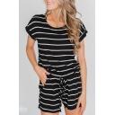 New Trendy Black Striped Printed Round Neck Short Sleeve Drawstring Waist Casual Romper