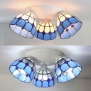 Mediterranean Style Conical Ceiling Light 3 Lights Stained Glass Flush Mount Light for Restaurant
