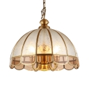 6 Lights Domed Shape Hanging Light Antique Style Glass Metal Pendant Chandelier for Dining Room