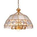 Antique Style Ceiling Light Metal and Glass 7 Lights Brass Chandelier for Living Room Hotel