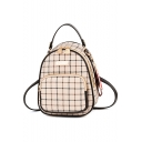 Hot Sale Plaid Pattern Small PU Backpack 19*14*24 CM