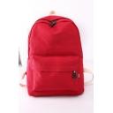 Unisex Simple Solid Color Canvas School Bag Backpack 30*15*40 CM
