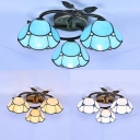 Blue/Beige/White Glass Ceiling Lamp 3 Lights Rustic Dome Semi Flush Mount Light for Restaurant