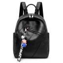 Cool Plain Letter Ribbon Decoration Black PU Leather School Bag Backpack 26*12*32 CM