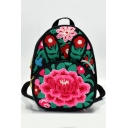 Folk Style Floral Embroidery Pattern Canvas Backpacks for Women 21*11*28 CM