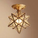 1 Light Polyhedron Light Fixture European Style Clear/Frosted Glass Ceiling Light for Bathroom