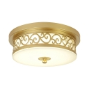 Metal Drum Shape Light Fixture Office Elegant Style LED Ceiling Light in Gold