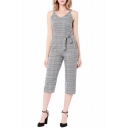 Women's Hot Fashion Grey Stripes Print V-Neck Spaghetti Straps Bow-Tied Waist Jumpsuits