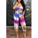 Women's Fashion Asymmetric Blue Tie-dye Sexy V-Neck Spaghetti Straps Sleeveless Cutout Loose Jumpsuits