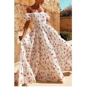Women's Hot Fashion White Floral Print Off The Shoulder Short Sleeve Maxi Holiday Dress