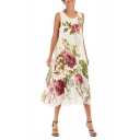Women's Hot Fashion Round Neck Sleeveless Floral Print Maxi A-Line Swing Beach Dress