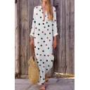 Women's New Ethnic Polka Dot Print V-Neck Long Sleeves Maxi Cotton Dress