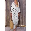 Women's New Ethnic Polka Dot Print V-Neck Long Sleeves Maxi Cotton Dress