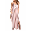 Women's V-Neck Sleeveless Split Side Stripes Print Maxi Slip Dress