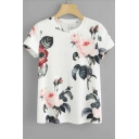 Hot Fashion Floral Printed Round Neck Womens White T-Shirt