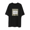 New Trendy Leopard Print PARIS Letter Round Neck Short Sleeve Loose T-Shirt For Girls