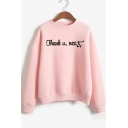 Unique Cool Letter THANK U NEXT Mock Neck Long Sleeve Pullover Sweatshirt
