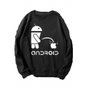 New Funny Creative Android Apple Printed Round Neck Long Sleeve Pullover Sweatshirt