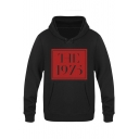 New Trendy Square Letter THE 1975 Printed Long Sleeve Casual Hoodie