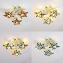 3 Heads Star Flush Mount Light Mediterranean Style Glass Ceiling Lamp for Living Room