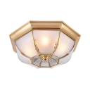 Vintage Style Dome Ceiling Light 3/4/5 Lights Frosted Glass Flush Mount Light for Foyer