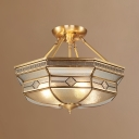 4 Lights Octagon Semi Ceiling Mount Light Antique Style Glass Ceiling Lamp for Bedroom