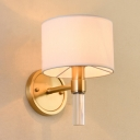 Simple Style Drum Wall Lamp Fabric 1 Light White Sconce Light for Living Room Restaurant